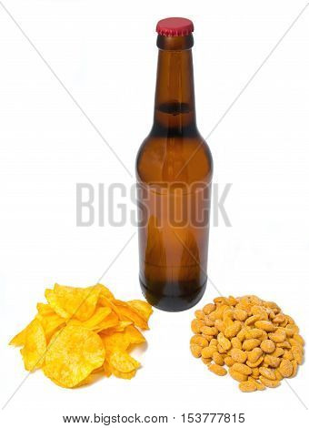 beer with chips and peanuts on white