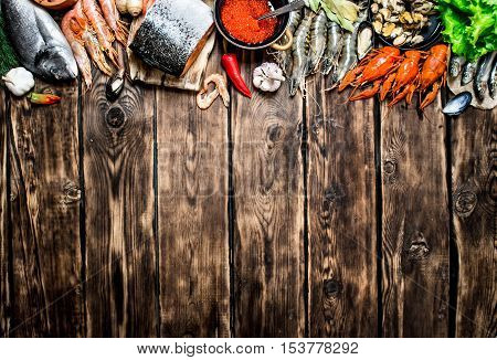 Variety Of Seafood From Shrimp, Shellfish And Other Marine Life.