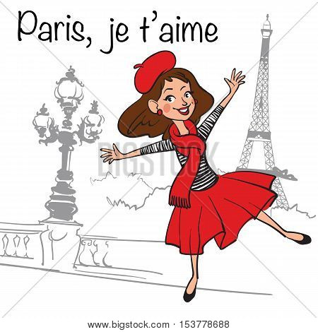 Vector hand drawn illustration iconset with Paris symbols. Funny cartoon french girl dancing in Paris.Paris je T'aime - I love Paris