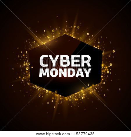 Cyber Monday promotion banner template. Yellow explosion made of stars and digits on a dark background.