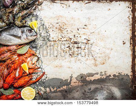 Variety Of Shrimp , Fish, And Shellfish On Fishind Net.
