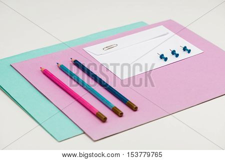 Stationery on white table. Office stuff. Copy space