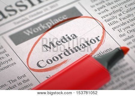 Media Coordinator - Vacancy in Newspaper, Circled with a Red Marker. Blurred Image with Selective focus. Job Seeking Concept. 3D Render.