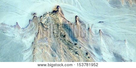 Abstract photography of landscapes of deserts of Africa from the air, wind effects