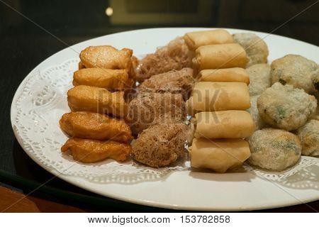Crispy Dim Sum dishes in restaurant, Chinese food