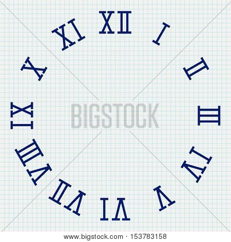 Clock face with roman numerals. Vector illustration