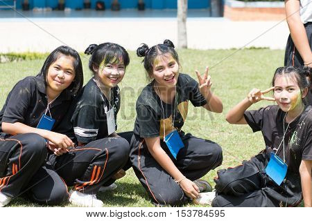 LOEI Thailand - JUNE 15 2016: Student have activity freshman with a fun and happy in high school Thailand. Education in Thailand on JUNE 15 2016