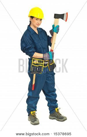 Full Length Of Worker Female With Ax