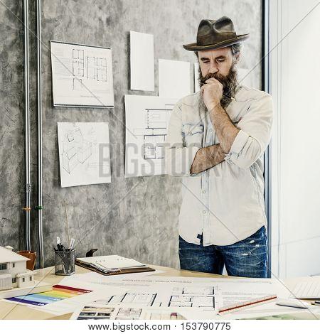 Design Studio Architect Creative Occupation Blueprint Concept