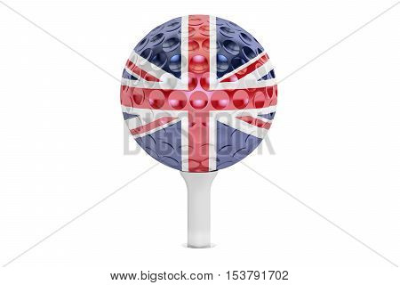 golf ball on a tee with flag of Great Britain 3D rendering isolated on white background