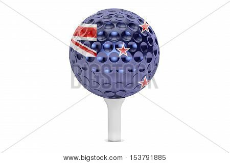 golf ball on a tee with flag of New Zealand 3D rendering isolated on white background