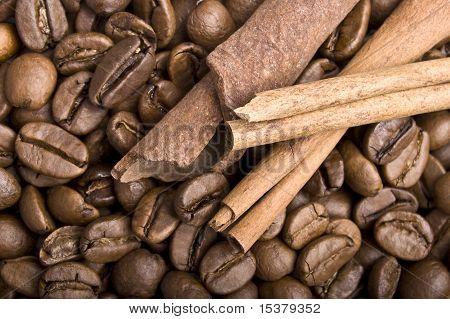 Coffee Grains And Sticks Of Cinnamon