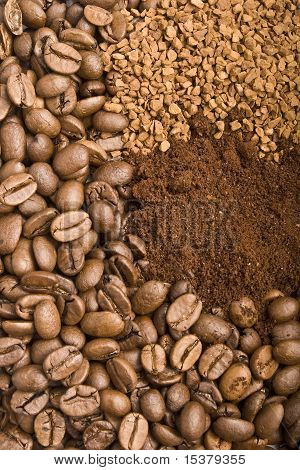 Coffee Grains, Coffee Powder And Goffee Granules