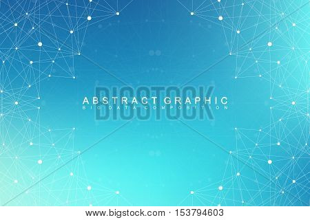 poster of Big data complex. Graphic abstract background communication. Perspective backdrop of depth. Minimal array with compounds lines and dots. Digital data visualization. Big data vector illustration