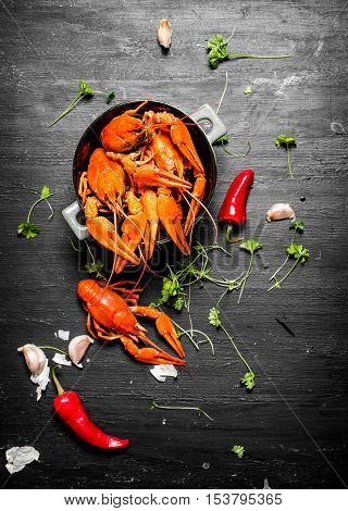 The Food Delicacies. Boiled Crawfish With Herbs And Spicy Peppers.