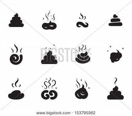 Simple Poop Icons of Different Shapes Isolated On White Background