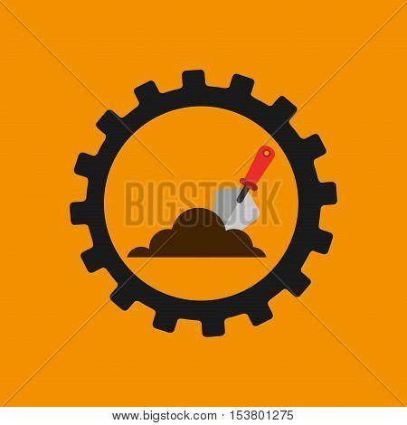 gear construction shovel spatula tool vector illustration eps 10