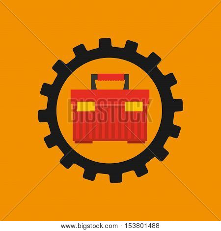 gear construction tool box red vector illustration eps 10