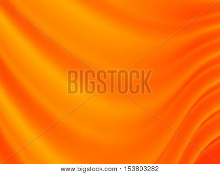 Orange abstract waves, computer generated background. 3D illustration.