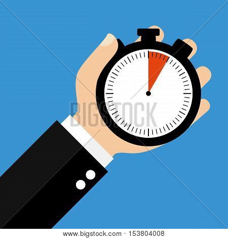 Hand holding Stopwatch showing 5 Seconds 5 Minutes or 1 Hour - Flat Design