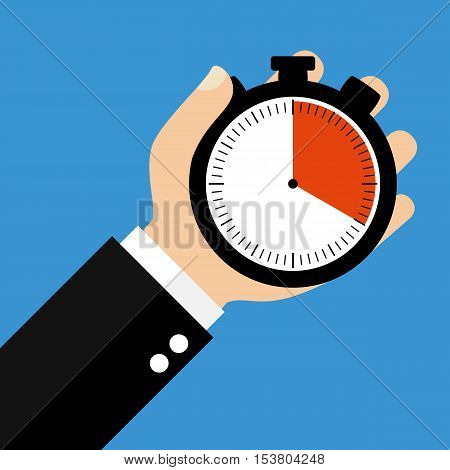 Hand holding Stopwatch showing 20 Seconds 20 Minutes or 4 Hours - Flat Design