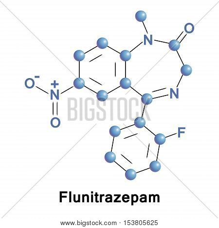 Flunitrazepam is an intermediate acting benzodiazepine used to treat severe insomnia and early in anesthesia, also has been referred to as a date rape drug. It leads to drug dependence. Vector formula