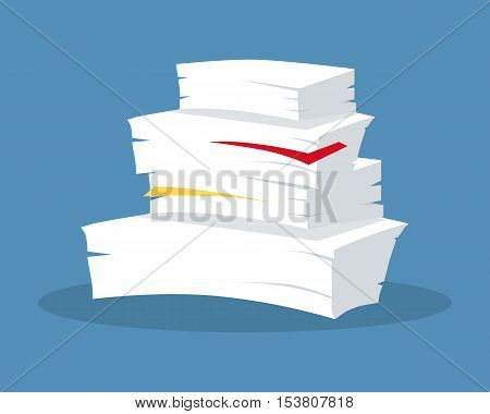 Stack of papers. Large number of business documents with bookmarks. Paper work, office routine, bureaucracy concept in flat design. Illustration for data, e-mail, management, services. On blue.