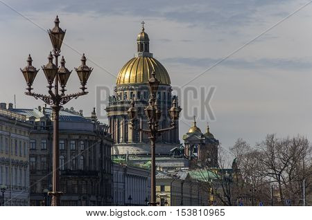 St. Isaac's Cathedral and lights on Palace (Dvortsovaya) square. Saint Petersburg Russia
