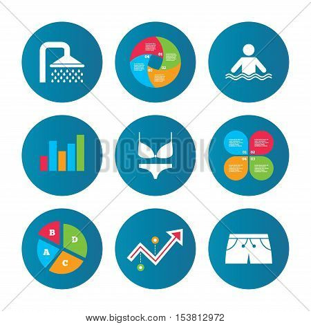 Business pie chart. Growth curve. Presentation buttons. Swimming pool icons. Shower water drops and swimwear symbols. Human stands in sea waves sign. Trunks and women underwear. Data analysis. Vector