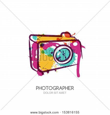Vector Watercolor Illustration Of Colorful Digital Photo Camera. Abstract Logo Design Template.