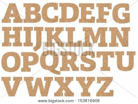 Cork board font letters of english alphabet on a transparent wipe board.
