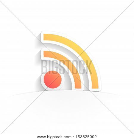 rss icon in paper style full vector