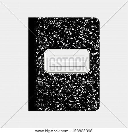 Black workbook, notebook. Traditional school notebook vector illustration