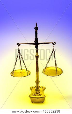 Golden Weight Scale, Also  Laboratory Balance, Balance Scale, Or Beam Balance