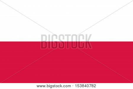 Vector flat style Republic of Poland state flag. Official design of polish flag. Symbol with two horizontal stripes. Independence day, holiday, web site button. vector illustration template. Add text