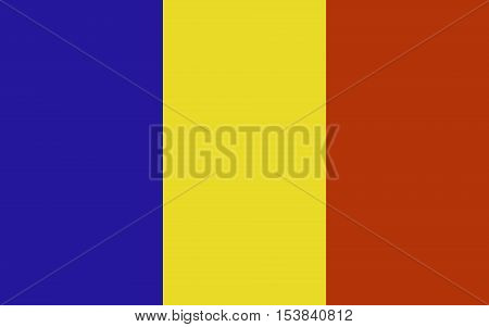 Vector flat style Republic of Romania state flag. Official design of romanian flag. Symbol with three vertical stripes. Independence day, holiday, web button. vector illustration template. Add text