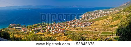 Bol on Brac island panoramic aerial view Dalmatia Croatia