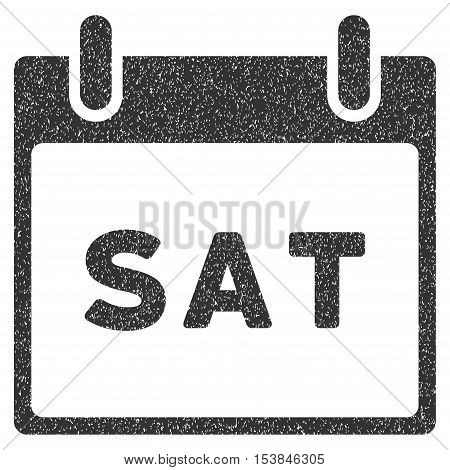Saturday Calendar Page grainy textured icon for overlay watermark stamps. Flat symbol with dust texture. Dotted vector gray ink rubber seal stamp with grunge design on a white background.