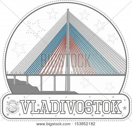 Sticker With Russkiy Bridge In Vladivostok, Russia