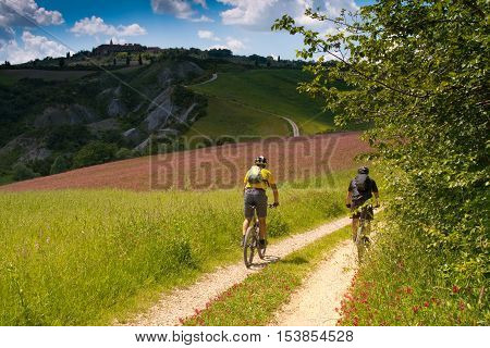 Val d'Orcia Siena mountain bike excursion in the Tuscan hills - Stagnino locations along the county road Pienza Monticchiello
