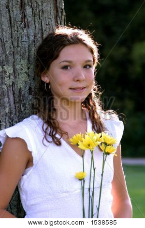 Pretty Teen With Flowers