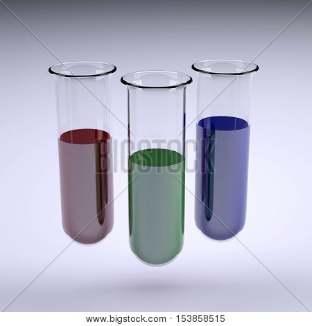 three testtubes with colored liquid inside 3d illustration