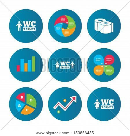 Business pie chart. Growth curve. Presentation buttons. Toilet paper icons. Gents and ladies room signs. Man and woman symbols. Data analysis. Vector