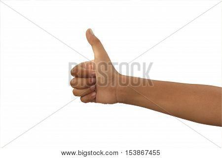 child hand showing thump up and like signgood or positive