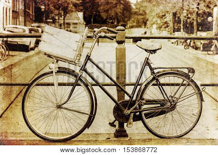 Retro Colored Picture Of A Holland Bicycle