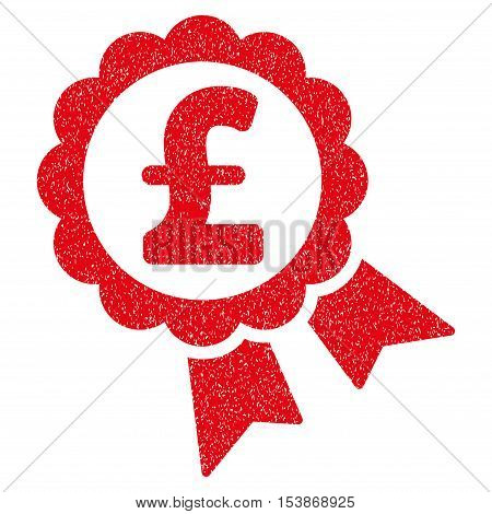 Featured Pound Price Label grainy textured icon for overlay watermark stamps. Flat symbol with unclean texture. Dotted vector red ink rubber seal stamp with grunge design on a white background.