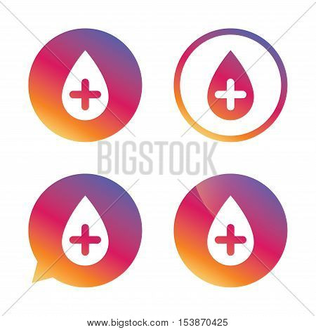 Water drop with plus sign icon. Softens water symbol. Gradient buttons with flat icon. Speech bubble sign. Vector