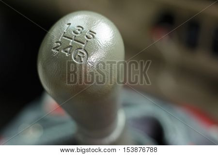 The gear change lever with backgroud blure