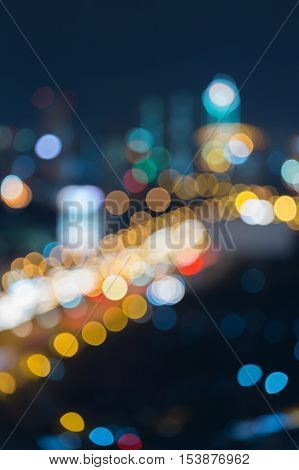 City road blurred lights night view, abstract background