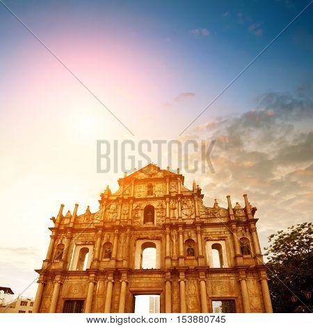 Dusk Macau Ruins the ruins of the ancient church.